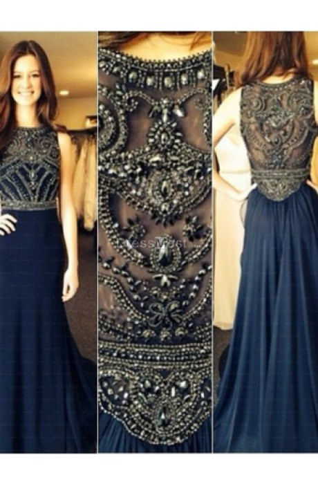 Line beading chiffon prom dress