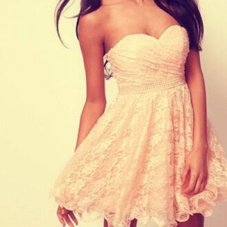 dress pale pink peach light lace strapless short skater skirt beautiful party