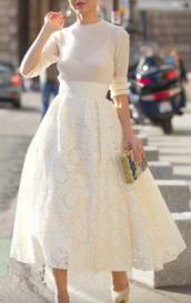 skirt,lace skirt,beige lace skirt,long wide skirt,lace,midi skirt,pumps,white skirt,white,long sleeves,90s style,white lace skirt