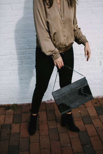 jacket tumblr bomber jacket satin bomber satin brown jacket bag grey bag jeans black jeans skinny jeans boots black boots ankle boots