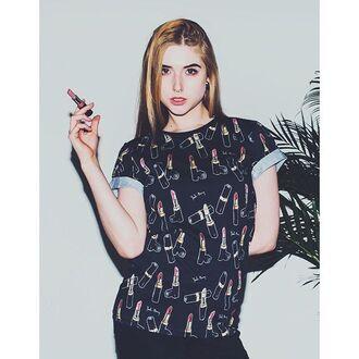 t-shirt yeah bunny lipstick tee black girly girl power