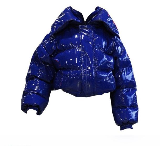 jacket bubble coat latex big coat blue puffer jacket black; big coat; long; big; belt; warm; winter royal blue