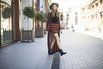the blonde salad blogger striped skirt black booties