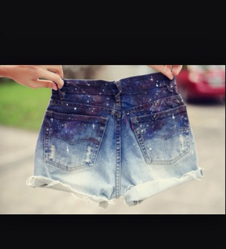 shorts galaxy shorts denim shorts white ombre