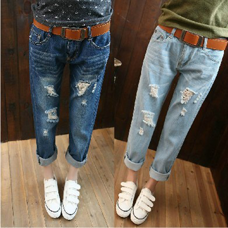 26 34 Plus Size Fashion 2014 Boyfriend Style Women's Jeans With Holes Loose Bleached Washed Vintage Capris Cross pants on Aliexpress.com