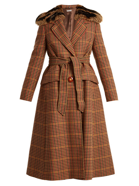 Miu Miu coat wool coat fur wool brown