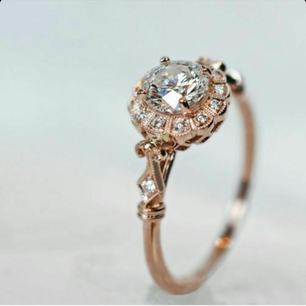 Jewels vintage ring vintage ring vintage jewelry diamonds gold rose go