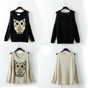 Charming Knitting Pullover Long Sleeve Sequins Owl Off-Shoulder Loose Jumper Top | eBay