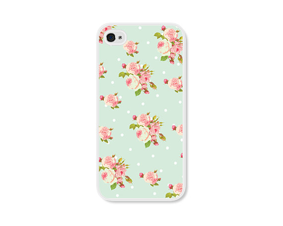 Floral phone case iphone 4 / 4s or 5 / 5s mint iphone by fieldtrip