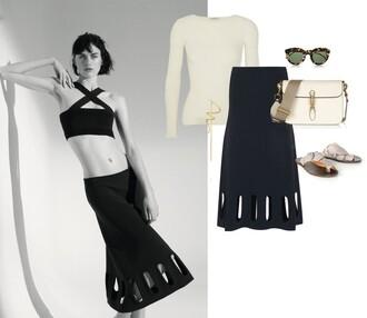 portable package blogger skirt black skirt