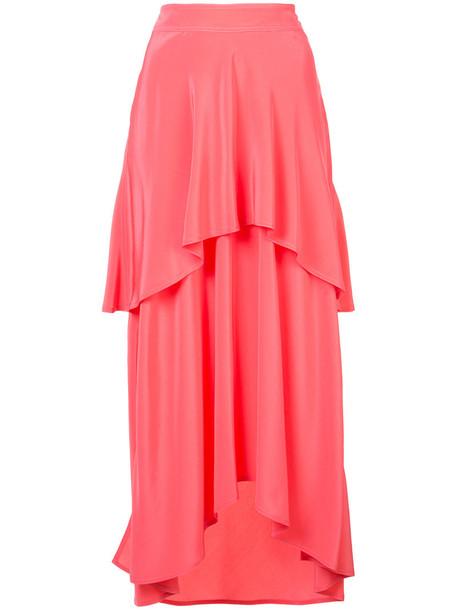 skirt ruffle women layered silk purple pink