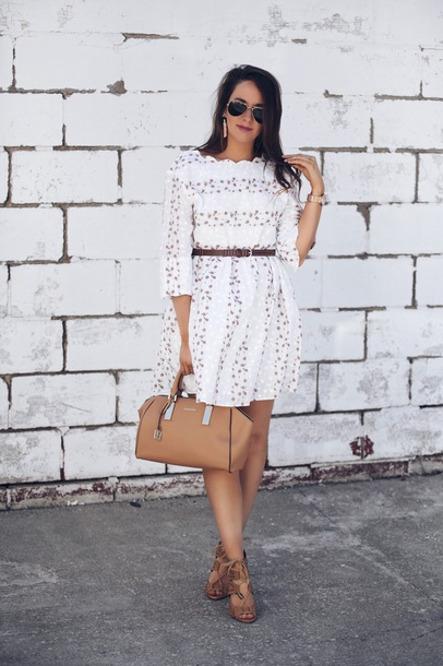 fashionably kay blogger dress jewels shoes handbag white dress sandals spring outfits