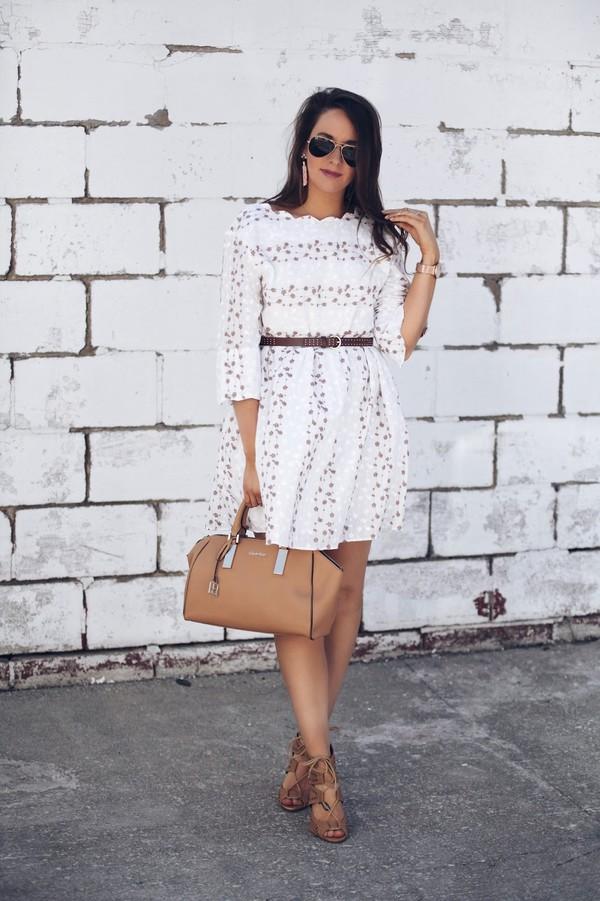 fashionably kay blogger dress jewels shoes handbag white dress sandals spring outfits