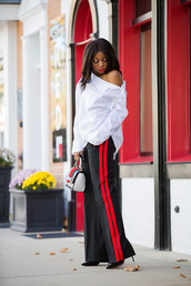 jadore-fashion,blogger,jewels,handbag,high heels,blouse,striped pants,off the shoulder,white shirt,black girls killin it,red,pants,style,gucci,melanin,african american