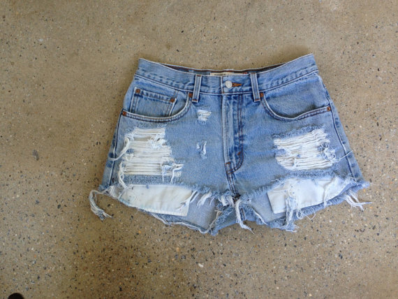 High Waisted Destroyed Denim Shorts  Made to by LoveCityDenim
