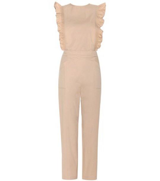 Ganni Phillips Cotton Jumpsuit in beige / beige