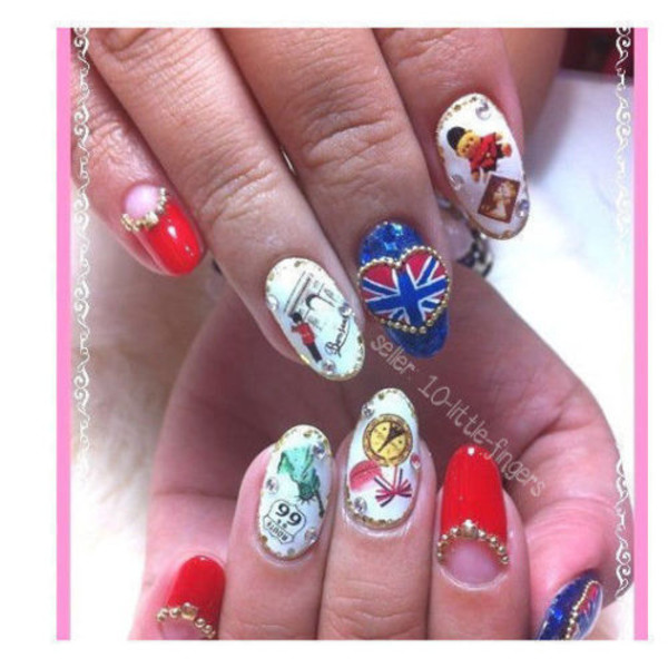 nail polish nails nail art decoration manicre pedicure hot flag britain london stripes