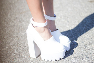 shoes ankle strap platform shoes white chunky heels white chunky high heels chunky heels chunky white shoes white platforms white heels high heel pumps intothefold blogger