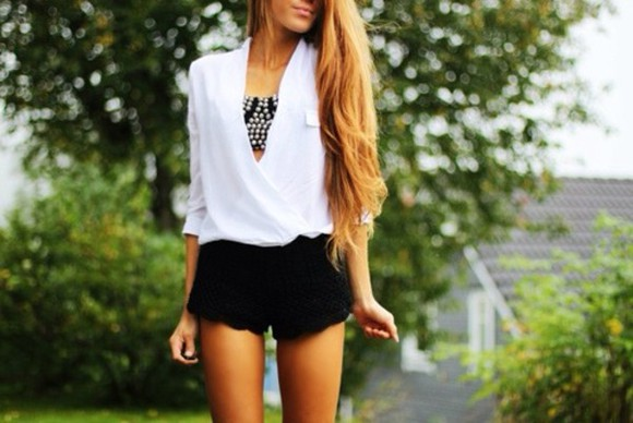 shirt white black pants shorts tops blouse underwear