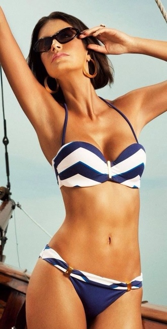 swimwear stripes stripes striped bikini push up embellished
