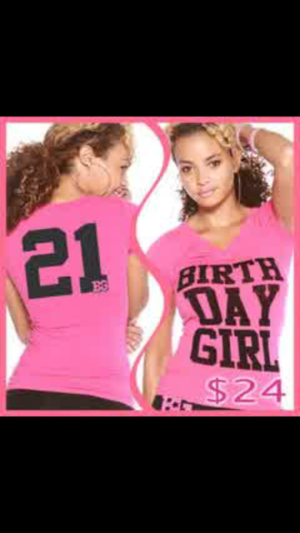 shirt t-shirt birthday girl pink