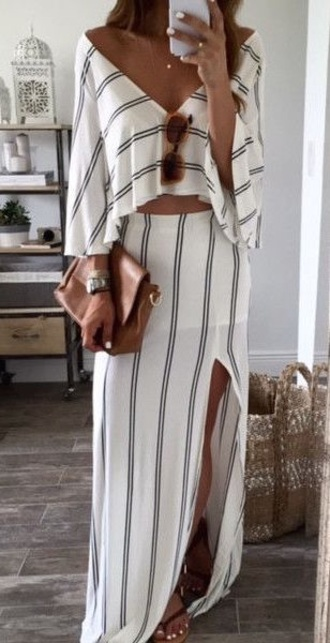dress outfit stripes two piece dress set striped dress white outfit skirt crop tops maxi skirt summer outfits striped top all white everything romper set white off the shoulder long style sundress summer dress jumpsuit pinterest ohmboutique shirt white dress slit skirt two-piece slit maxi skirt flowy top