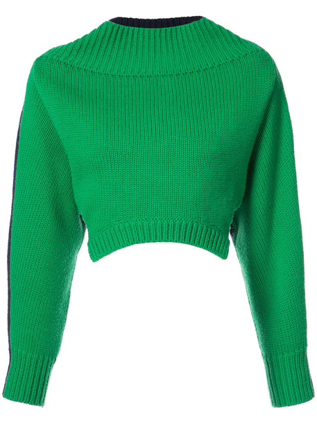 Monse sweater cropped sweater oversized cropped women wool green