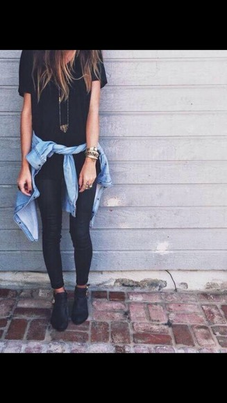 t-shirt fashion style tumblr outfit black tumblr shoes winter boots jean. all black Jewlery jewels top pants shoes necklace jacket