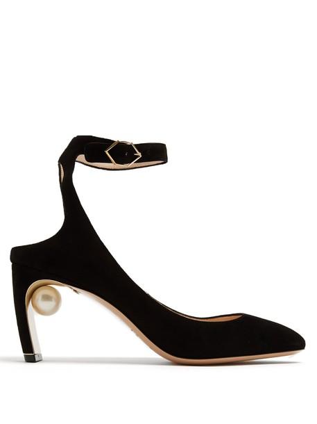 Nicholas Kirkwood suede pumps pearl pumps suede black shoes