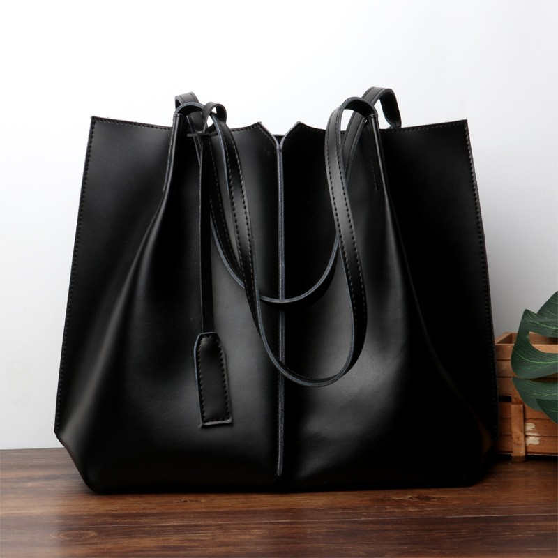 Black Soft Leather Tote Large Real Leather Shopper Bags
