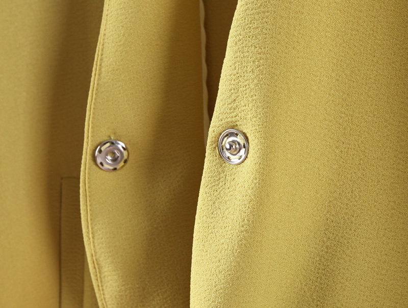 Yellow V Neck Pockets Long Blazer - Sheinside.com