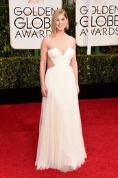 dress,rosamund pike,vera wang,Golden Globes 2015,white prom dress