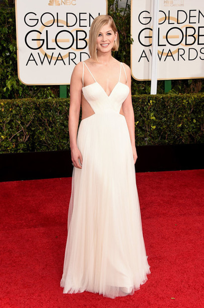 Dress Rosamund Pike Vera Wang Golden Globes 2015 White Prom
