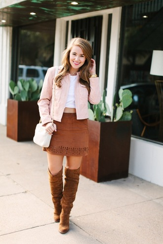 a lonestar state of southern blogger suede boots pink jacket brown boots