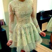 dress,lace dress,short white dress,wedding dress,lace,short dress,pretty,sheer,prom dress,homecoming dress,long sleeve dress,short prom dress,sexy,peach,forever 21,white dress,white lace dress,skater dress,light blue,floral embroidery,mesh dress,round neck,gorgeous,sequins,cream,mint dress,long sleeves,prom,white,short