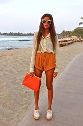 sunglasses,shorts,blouse,orange bag,shoes