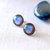Blue & Red Galaxy Earrings. Space Earrings. Universe Earrings. Glass Dome Earrings. Galaxy Stud Earrings. Space Post Earrings.
