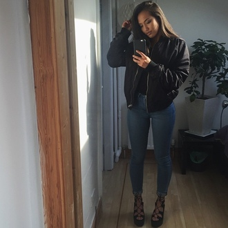 jacket bomber jacket black bomber jacket jeans mid rise jeans shoes coat black