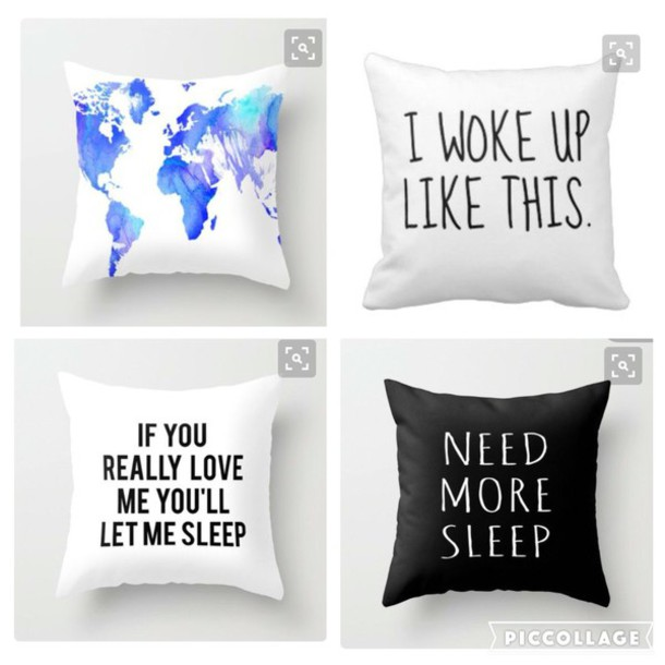 home accessory pillow bedroom pillows sleep i woke up like this need more sleep love black