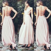 dress,prom dress,prom,white,boho dress,style,backless prom dress,long,pink,open back,dusty pink maxi dress,sundress,pink dress,v neck dress,crochet dress