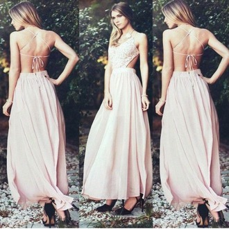 dress prom dress prom white boho dress style backless prom dress long pink open back dusty pink maxi dress sundress pink dress v neck dress crochet dress