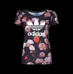 adidas originals t shirt mit blumen und logo print in schwarz fashion id online shop. Black Bedroom Furniture Sets. Home Design Ideas