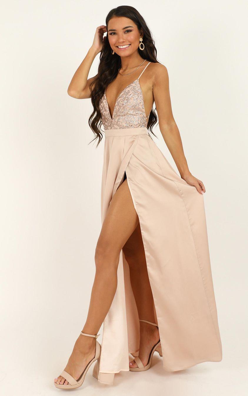 Showpo Fairest Of Them All Dress in rose gold glitter - 4 (XXS)