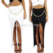high waist asymmetrical bandage maxi skirt,high waist maxi skirt,bandage maxi skirt,asymmetrical bandage maxi skirt,asymmetricalmaxi skirt,asymmetrical skirt,asymmetrical long skirt,metal chain detail slip pencil skirt,metal chain detail  skirt,slip pencil skirt,slip skirt,slip long skirt,white long skirt,black long skirt