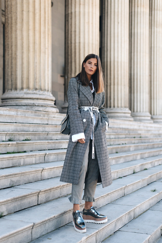 coat grey coat tumblr plaid plaid coat long coat pants grey pants shoes silver shoes