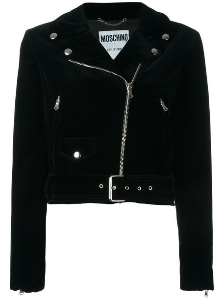 Moschino jacket biker jacket skull women cotton print black