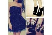 dress,sparkly dress,little black dress,black,black dress with silver sparkles,leopard print,nail polish,black high heels,shoes