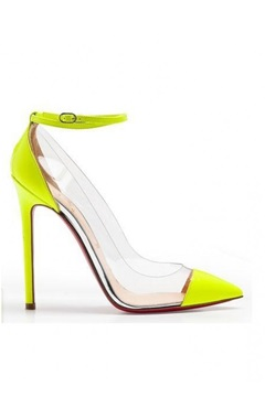 Ankle Strap Pointy Toe Fluorescent Yellow High Heels For Party - Pumps - OuterInner.com