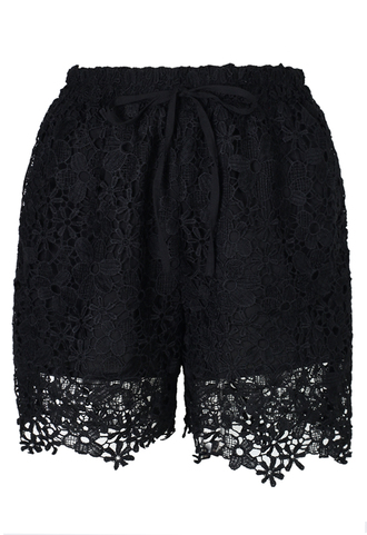 shorts black relaxed full lace