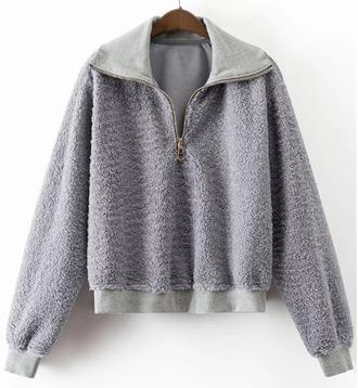 sweater grey half zip sweatshirt zip fur